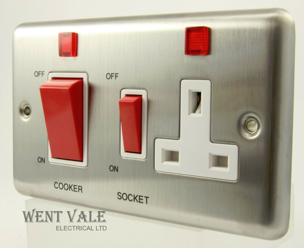 Volex Metal Plate Vx9700ss 45a Cooker Control Socket With Neons Wiring Regulations Switch Un Used 5031407064208 Ebay