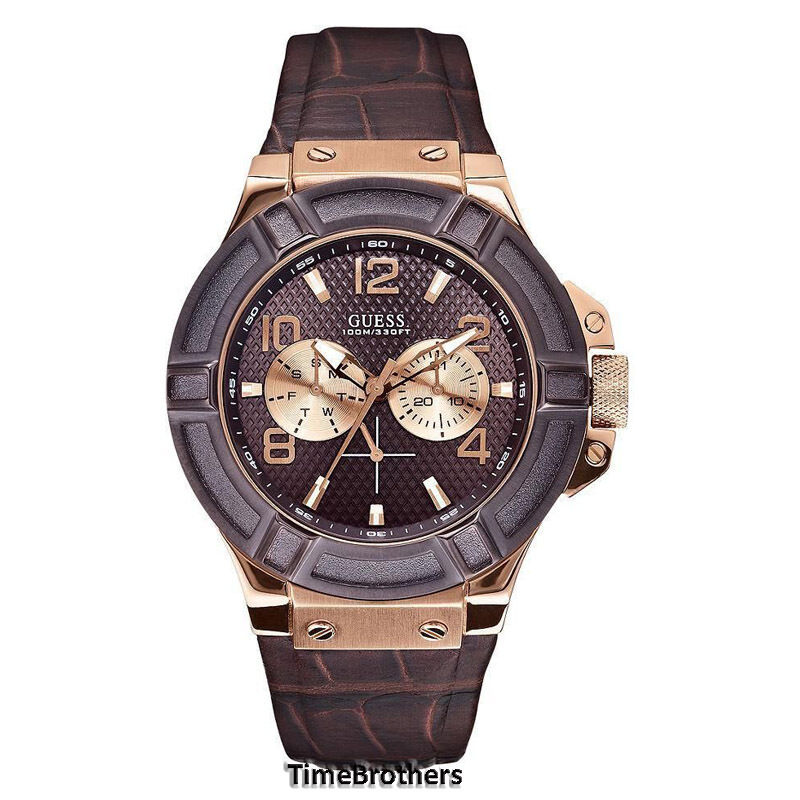 NEW GUESS WATCH for Men * Brown / Rose Gold Tone * Croco ...