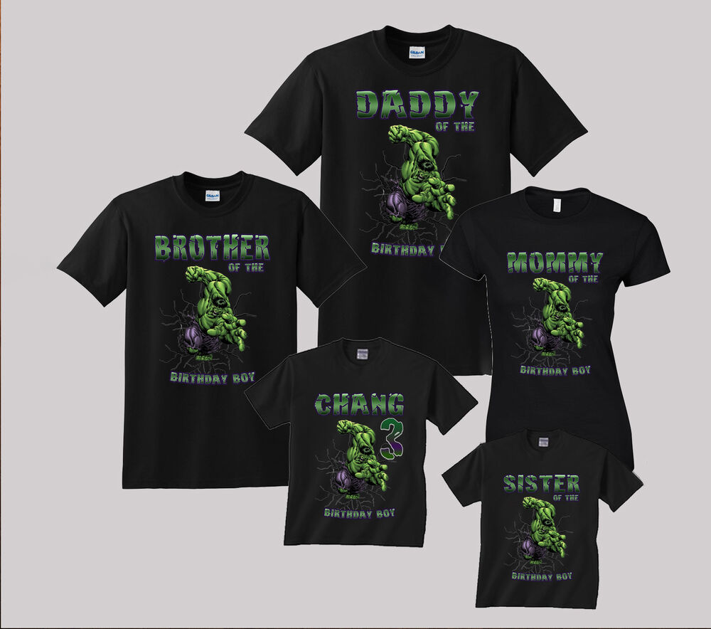 hulk birthday shirt personalized custom t shirt family black shirts ebay. Black Bedroom Furniture Sets. Home Design Ideas