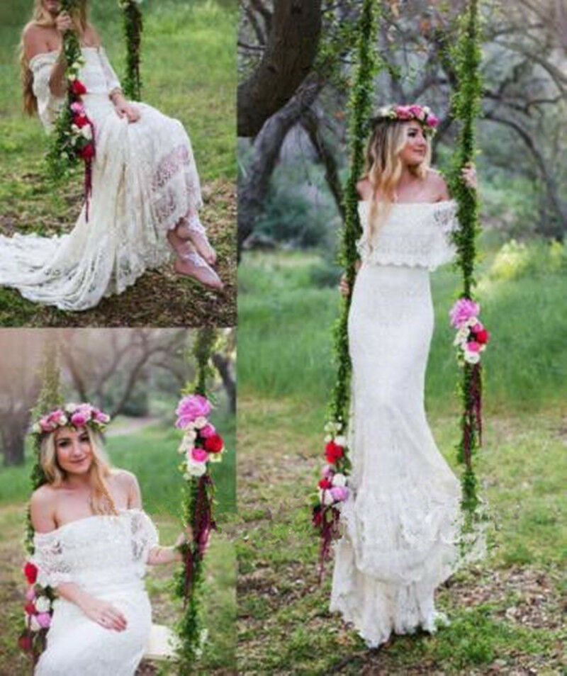 Boho Wedding Dress Size 18 : Bohemian off shoulder beach wedding dress lace long bridal