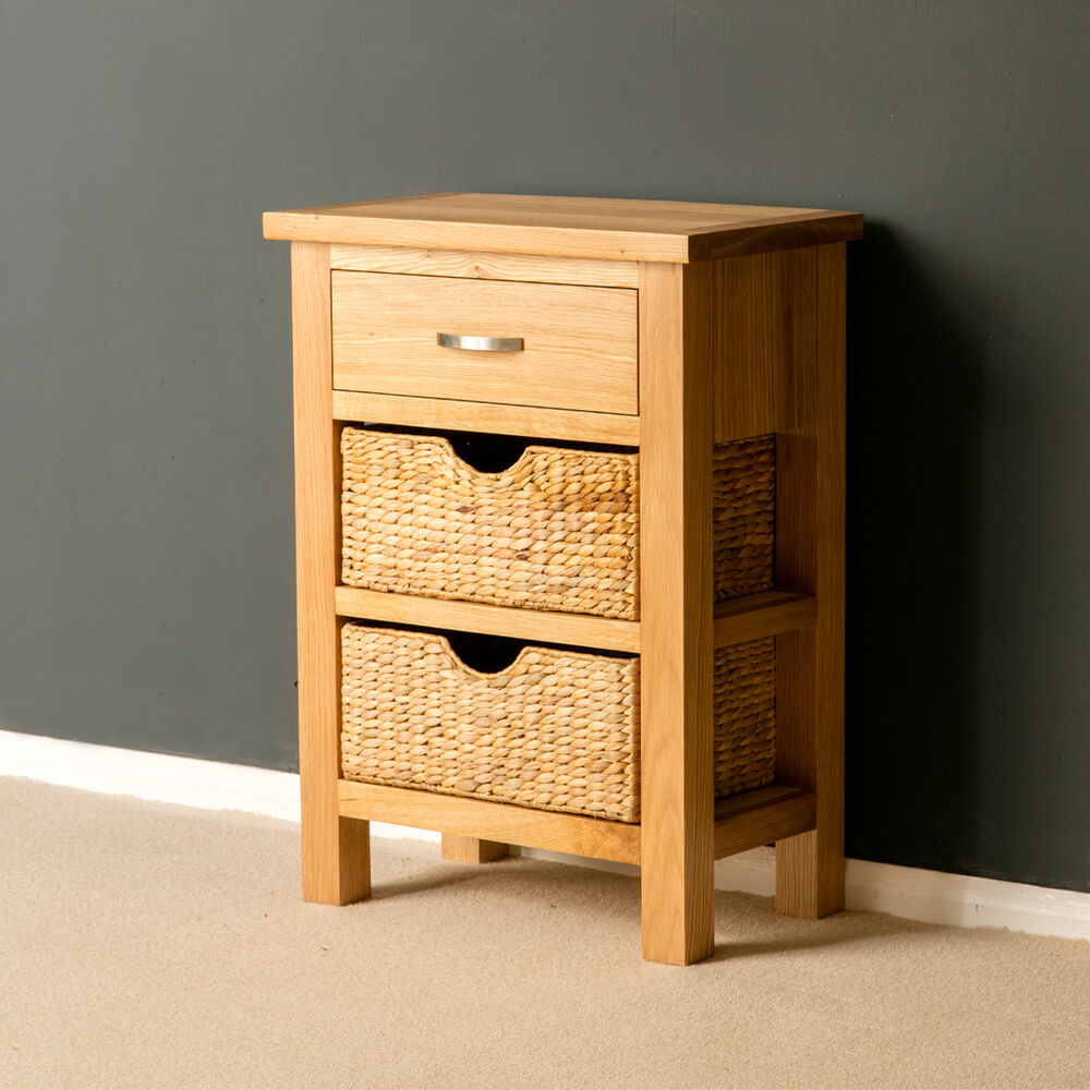 London oak small hall table with baskets telephone