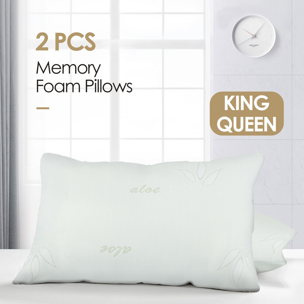 2pcs bamboo memory foam bed pillow queen king size hypoallergenic with carry bag ebay. Black Bedroom Furniture Sets. Home Design Ideas