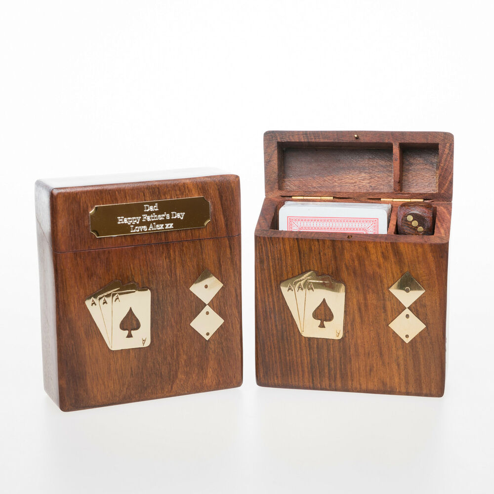 Personalised Wooden PLAYING CARDS Amp DICE Gift For Best Man Usher Page Boy Dad