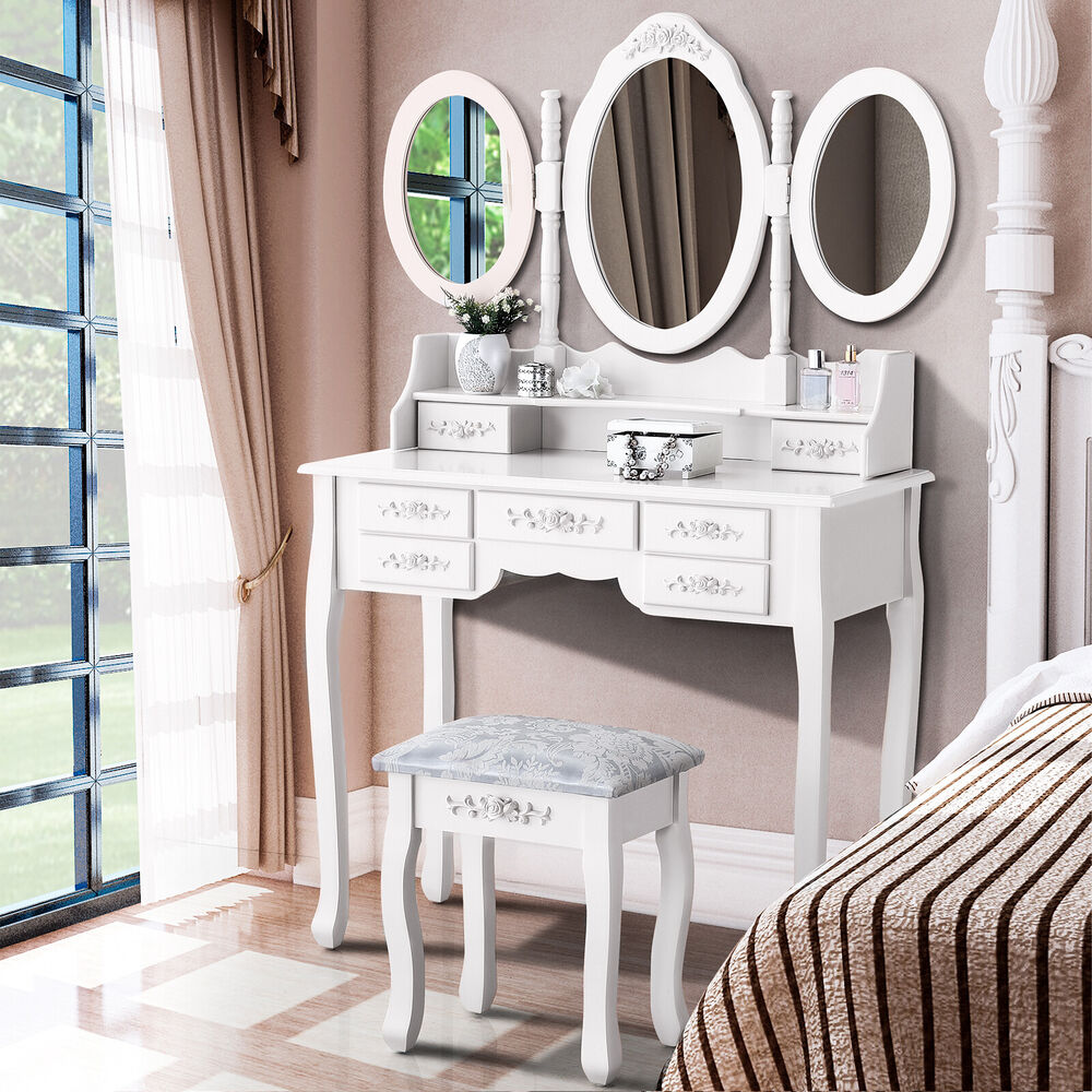 White vanity makeup dressing table set w stool 7 drawer for White makeup table with lights
