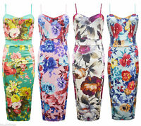 NEW WOMENS LADIES CELEB INSPIRED FLORAL TROPICAL STRAPPY CAMI MIDI BODYCON DRESS