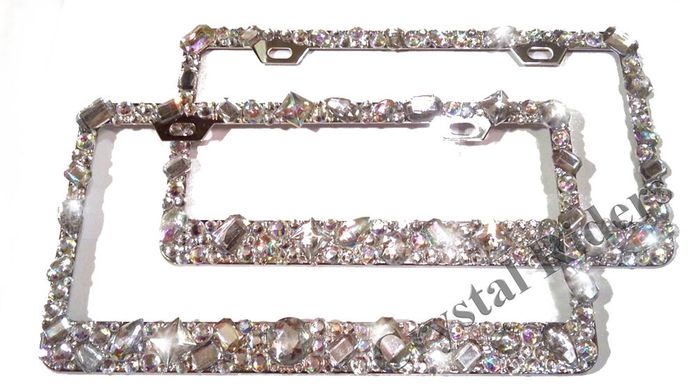 license plate frame crystal diamond rhinestone bling sparkle custom mix ab clear ebay