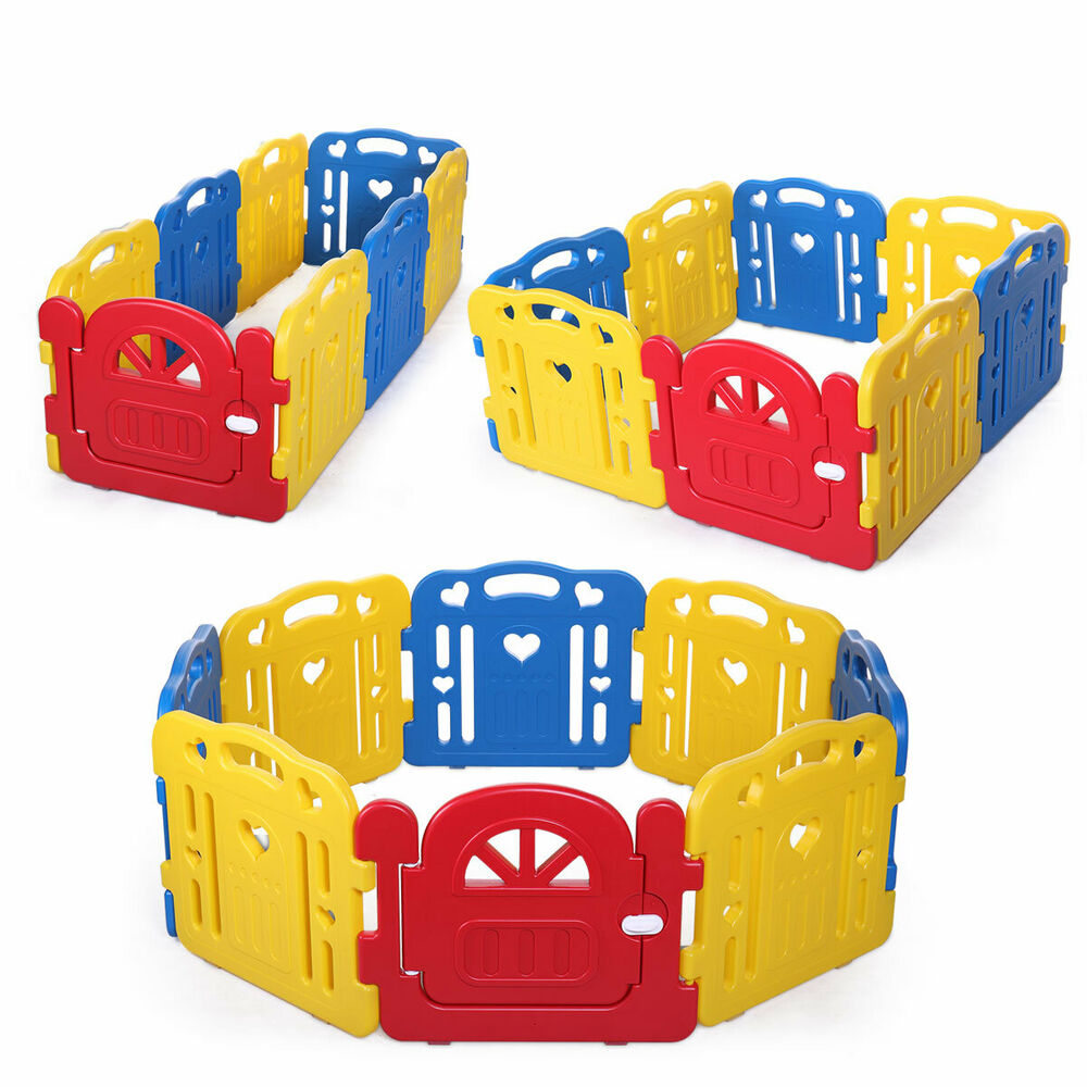 Baby playpen kids 6 panel safety play center yard home for Baby play centre
