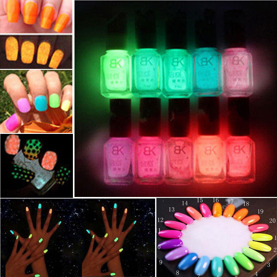 Fluorescent Neon Pink Nail Polish: Candy Colors Fluorescent Neon Luminous Gel Nail Art Polish