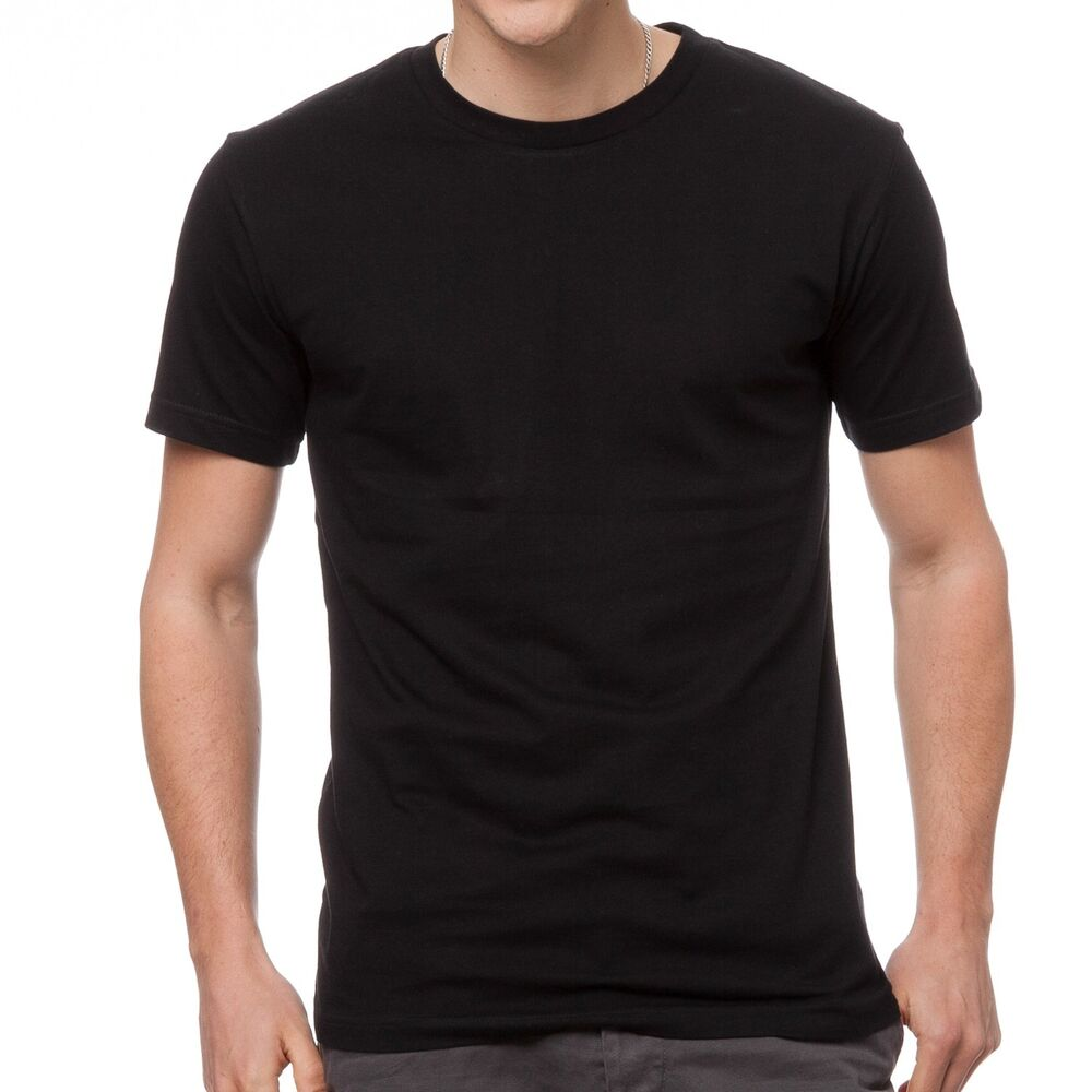 3 x mens plain 100 cotton blank t shirt tee black bulk for Tahari t shirt mens