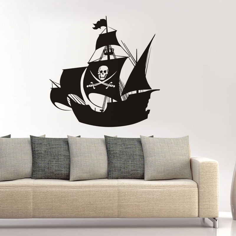 Ship decal pirate ship with skull flag vinyl wall sticker for Ship decor home