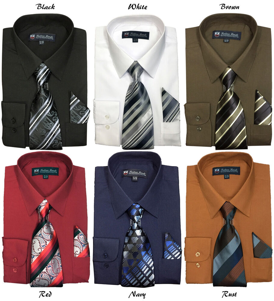 Men 39 s basic quality dress shirt w matching tie and for Matching ties with shirts
