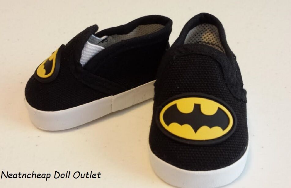 Fits 18 Quot American Girl Boy Doll Clothes Batman Inspired Casual Slip On Shoes Ebay