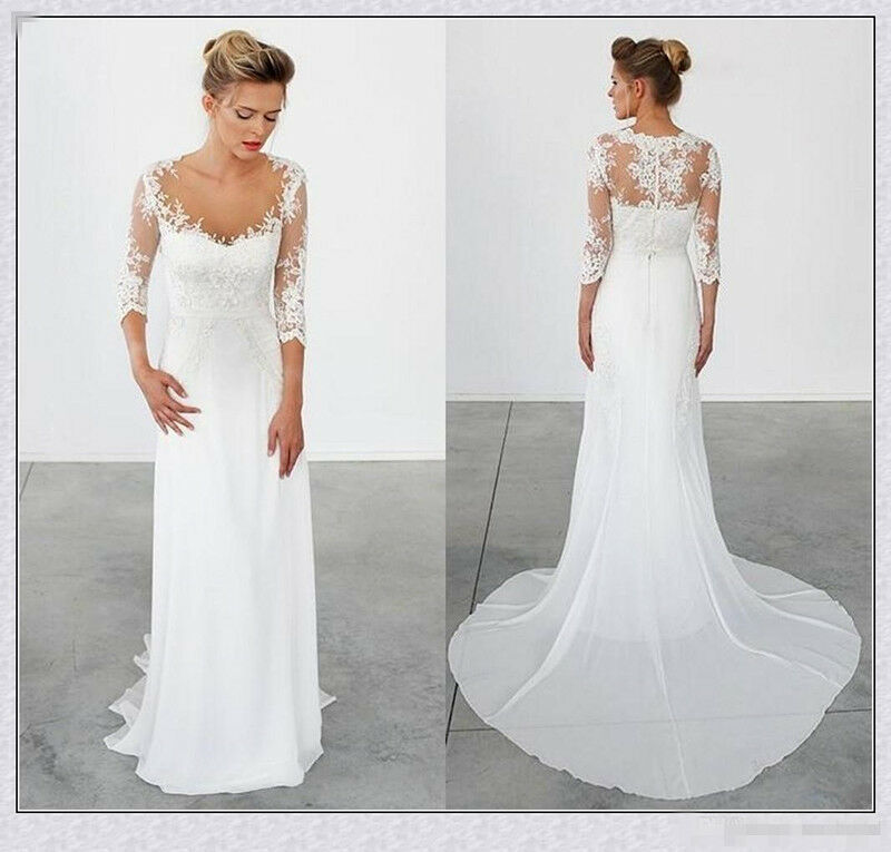 3 4 sleeve chiffon beach wedding dress white lace modest for Wedding dresses with half sleeves