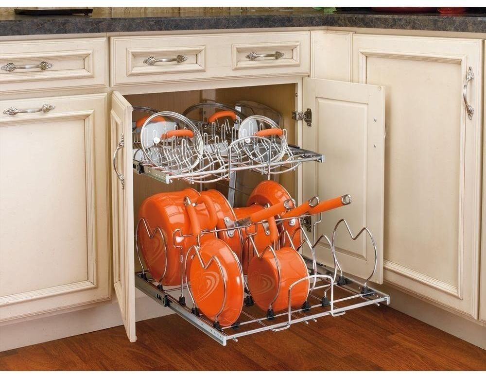 pots and pans cabinet kitchen pull out base cabinet cookware organizer rev a 24864