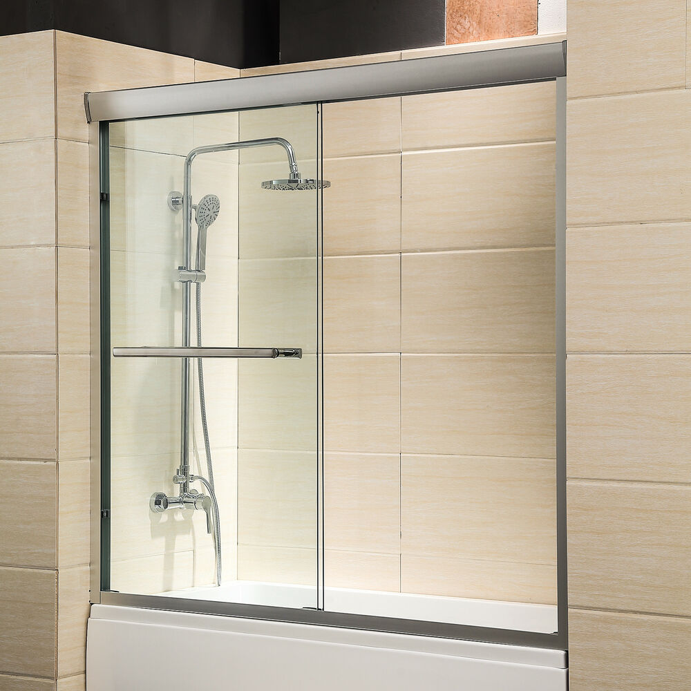"Bathroom Sliding Glass Doors: 60"" Framed 1/4"" Clear Glass 2 Sliding Bath Shower Door"