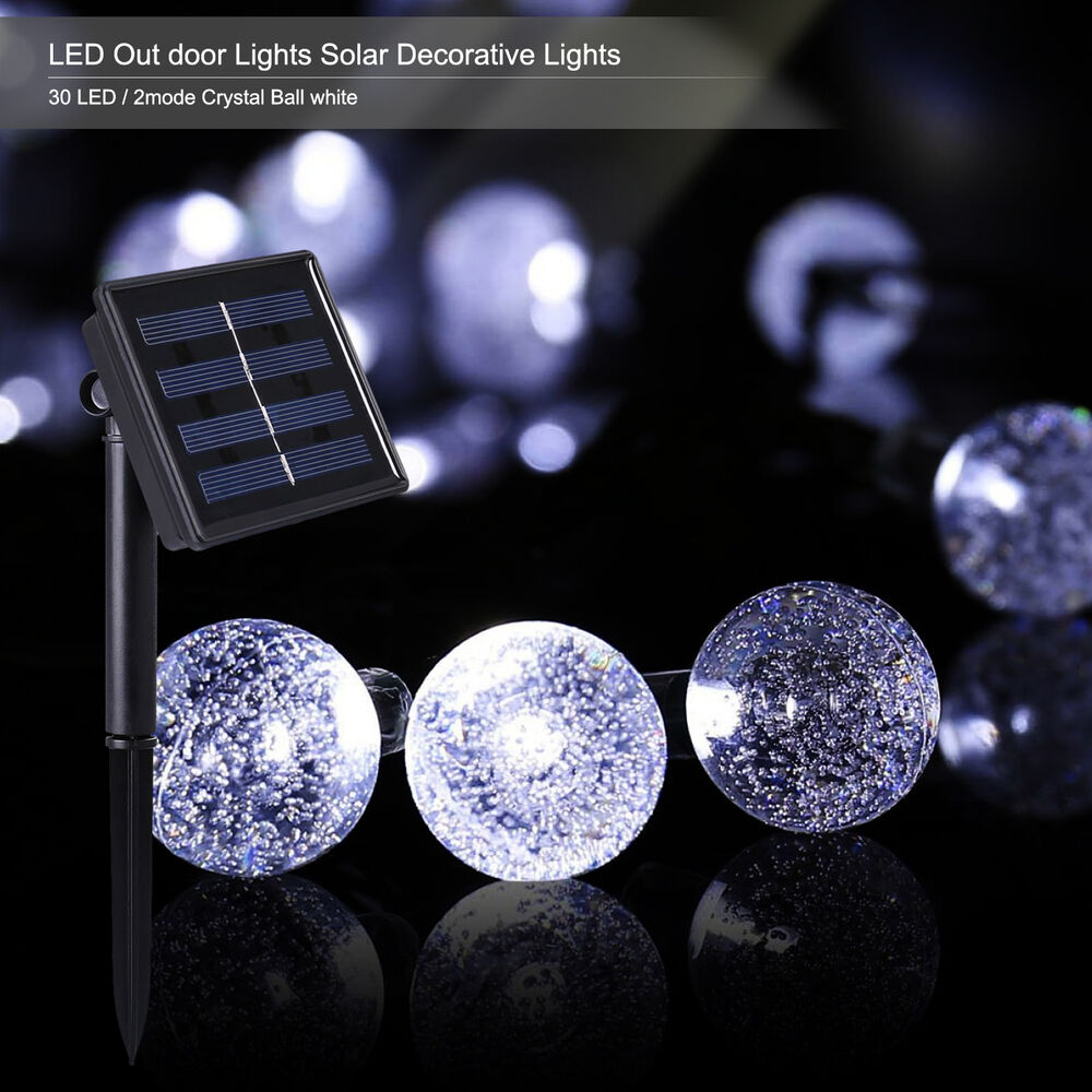 30 led solar power crystal ball outdoor indoor decorative string lights white ebay - Led decorative string lights ...