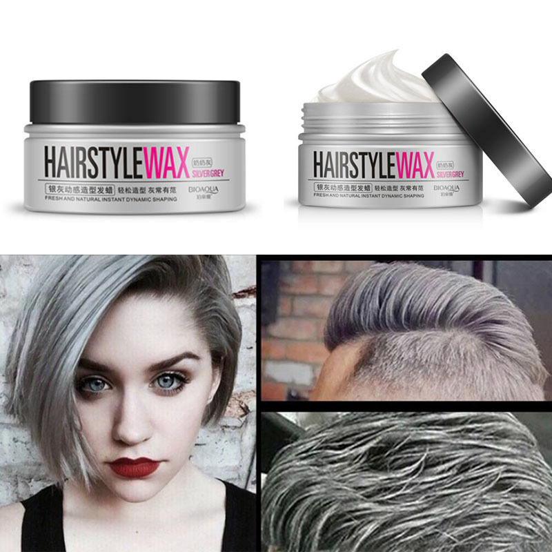 mens hair styling wax silver grey wax hair model pomade mud lasting 9323