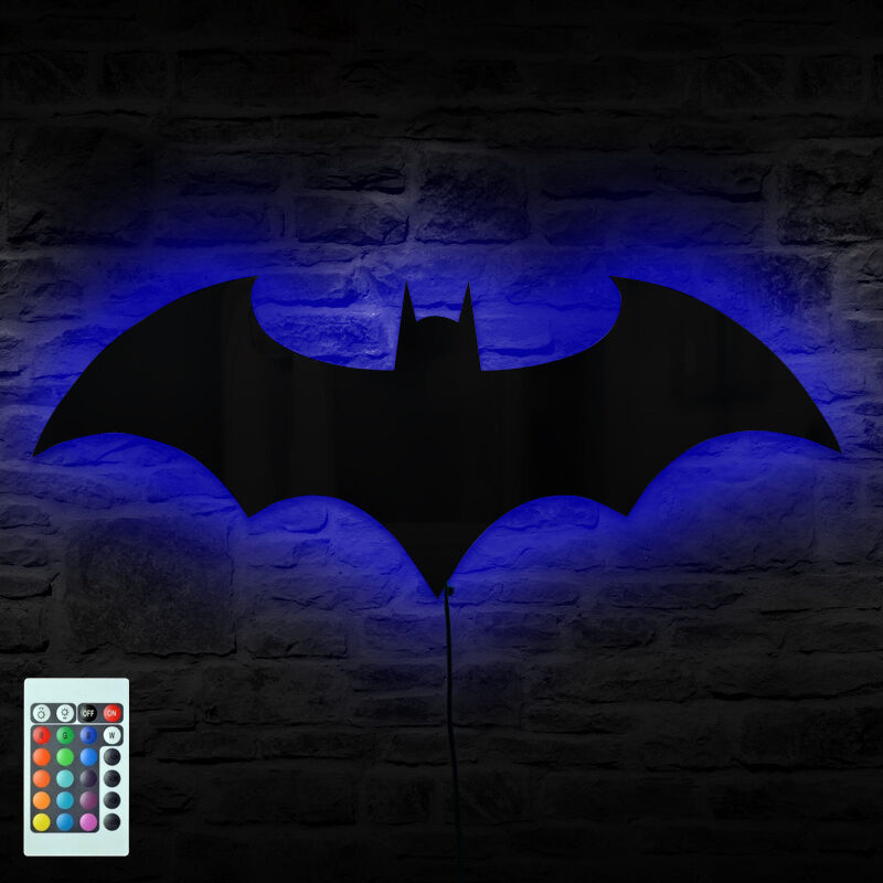 Superhero Neon Wall Lights : Batman Logo Mirror Wall Light Dark Knight Bat Symbol Logo LED Wall Lamp Gift eBay