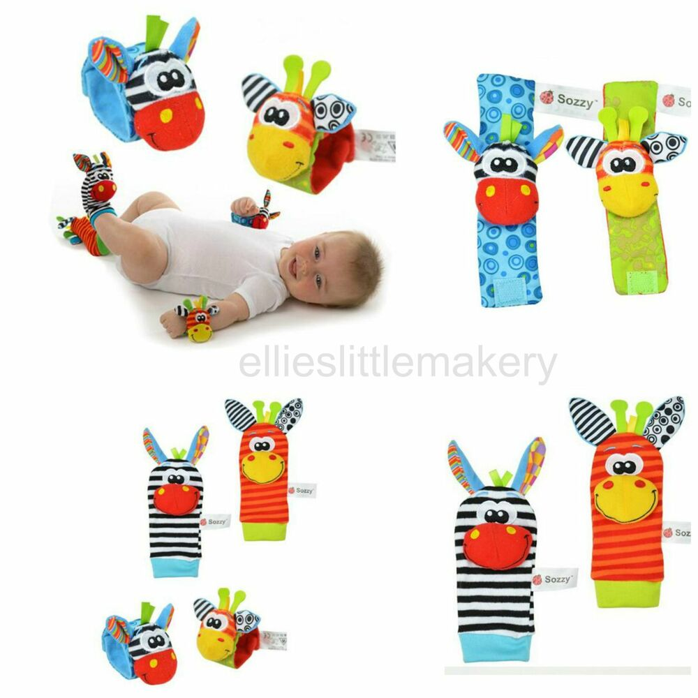 Toys For Feet : Sozzy baby infant rattle foot socks and wrist toys animals