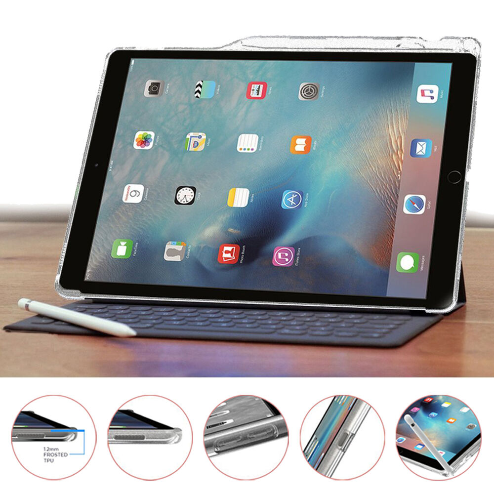 poetic clarity stylish thin tpu case for ipad pro 12 9 with pencil holder ebay. Black Bedroom Furniture Sets. Home Design Ideas