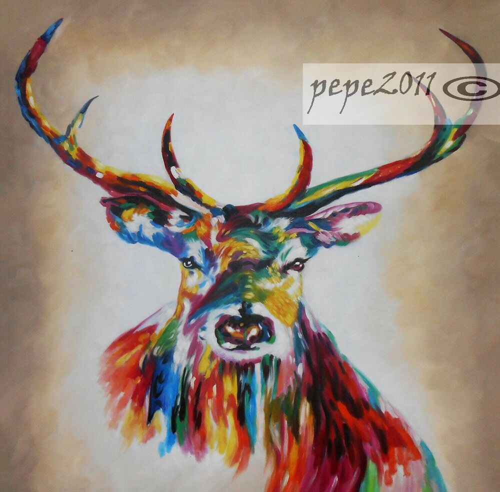 Stag deer on canvas 39 x 39 street art print graffiti for Mural on canvas