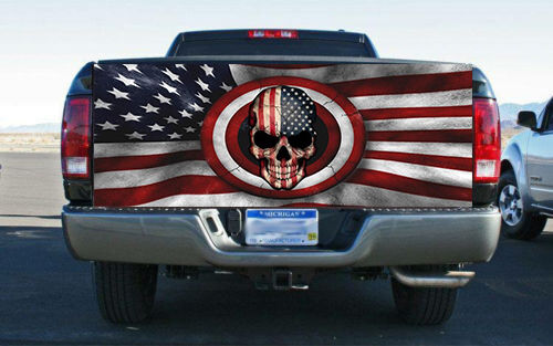 Patriotic Skull With Flag Rear Tailgate Wrap Vinyl Graphic