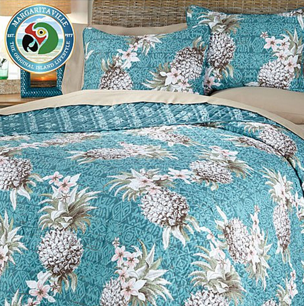 Margaritaville Pineapple 3 Piece Reverse Cotton Quilt With