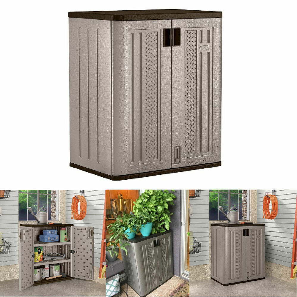 small outdoor storage cabinets suncast lawn yard patio