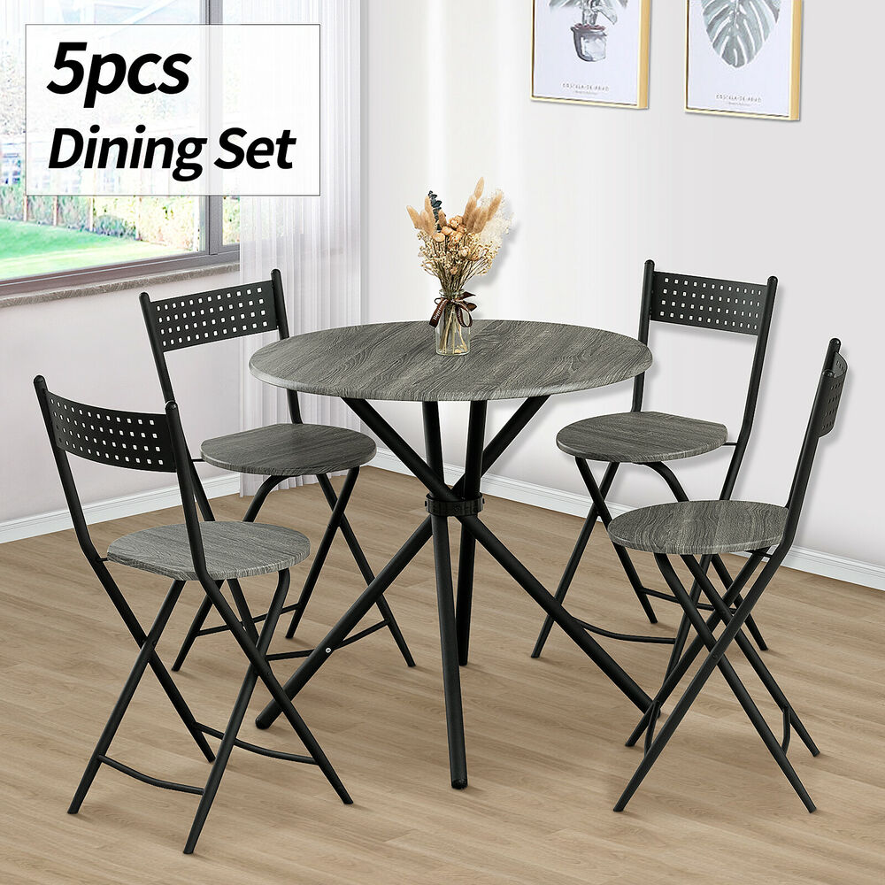5 piece wood dining table set 4 chairs kitchen dinette for Furniture kitchen set