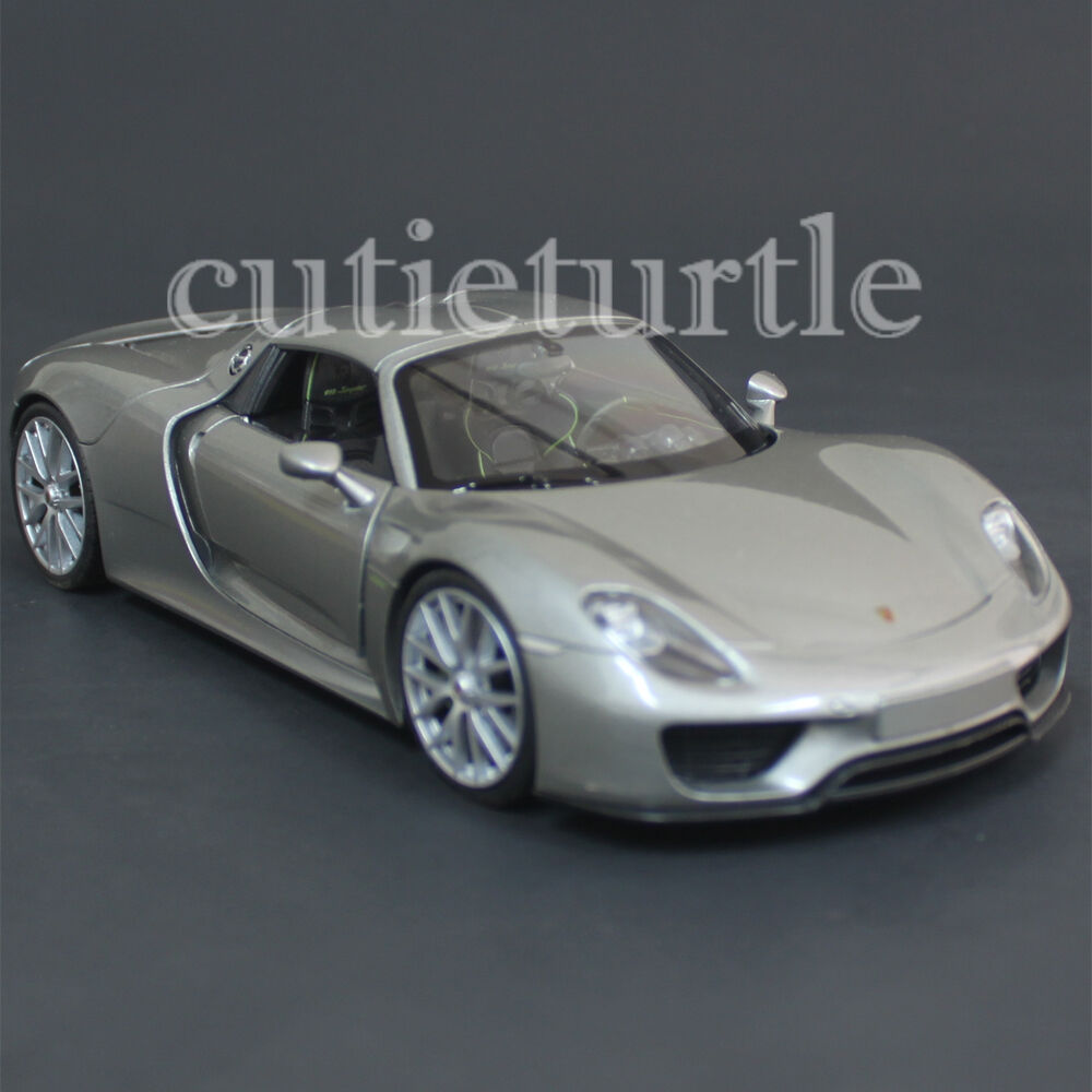 welly 24055 porsche 918 spyder hard top 1 24 diecast model car grey ebay. Black Bedroom Furniture Sets. Home Design Ideas
