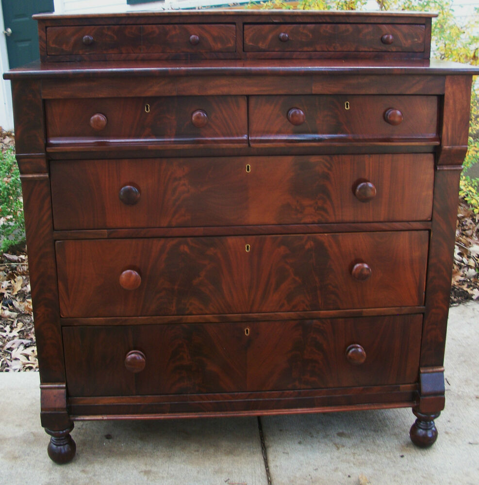 Federal Empire Antique Dresser Chest Crotch Flame Mahogany Thomas Day 1825 Ebay