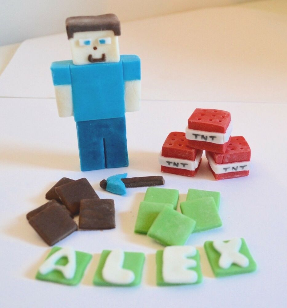 Minecraft cake toppers edible birthday decoration for How to make edible cake decorations at home