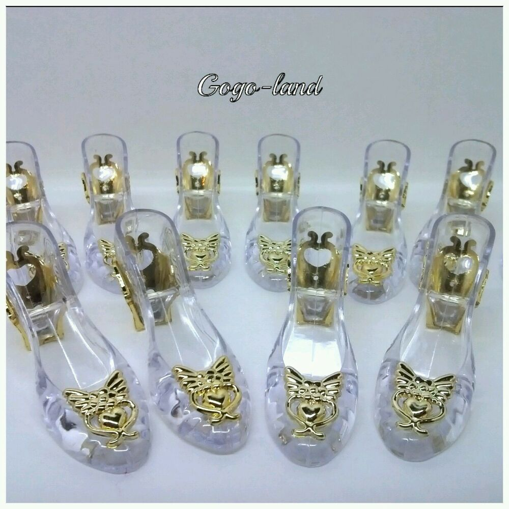 48 Clear Slippers Wedding Souvenir Favor Holders Plastic