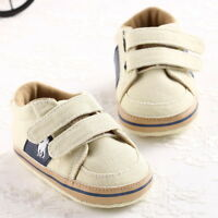 Baby Boy Classic Trainers Ivory Soft Sole Pram Shoes Size Newborn to 18 Months