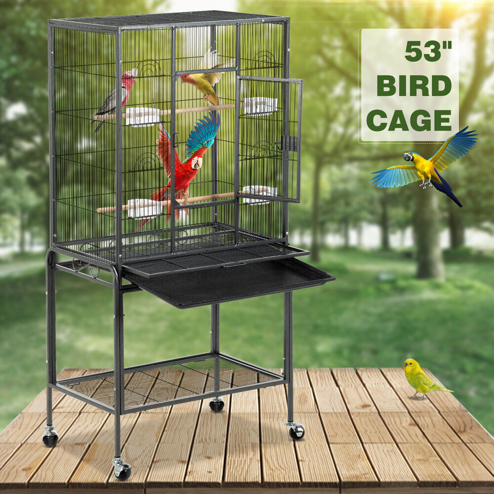 53 large bird parrot cage chinchilla cockatiel conure house w stand pet supply ebay. Black Bedroom Furniture Sets. Home Design Ideas