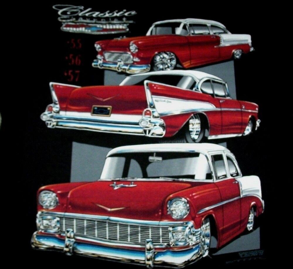 chevy t shirt black tri 5 chevrolet classic 1955 1956 1957. Black Bedroom Furniture Sets. Home Design Ideas
