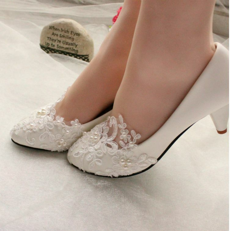 Lace White Ivory Crystal Wedding Shoes Bridal Flats Low High Heel Pump Size 5 12