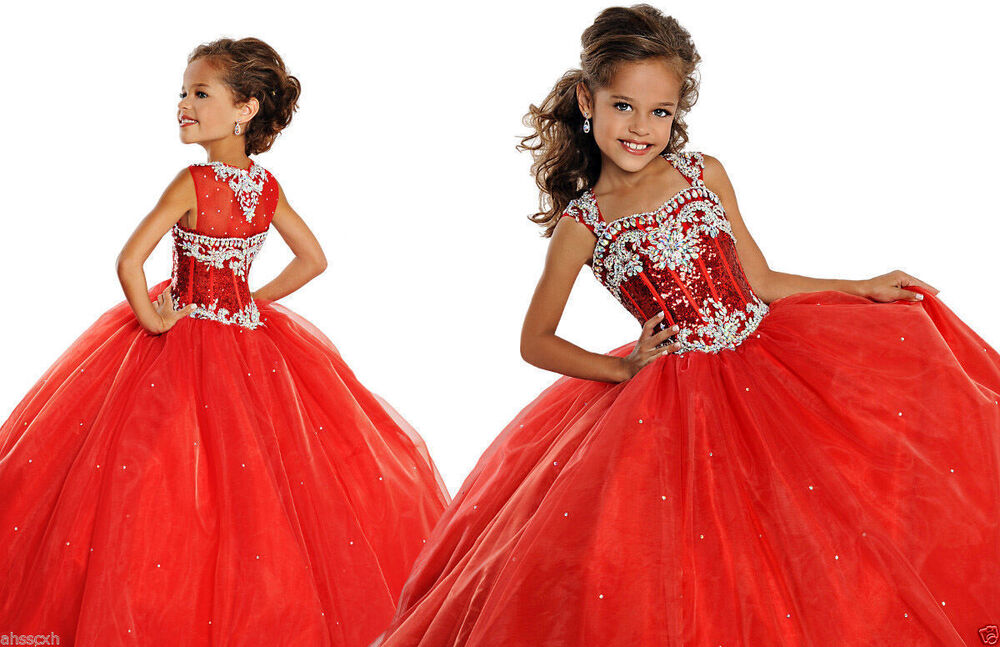 Stock Sequins Ball Gown Long Little Girls Pageant Dresses ...