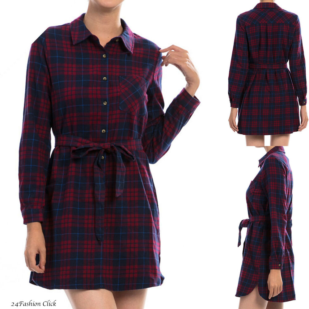 Women 39 s long sleeve button down front tie waist plaid for Women s plaid button down shirts