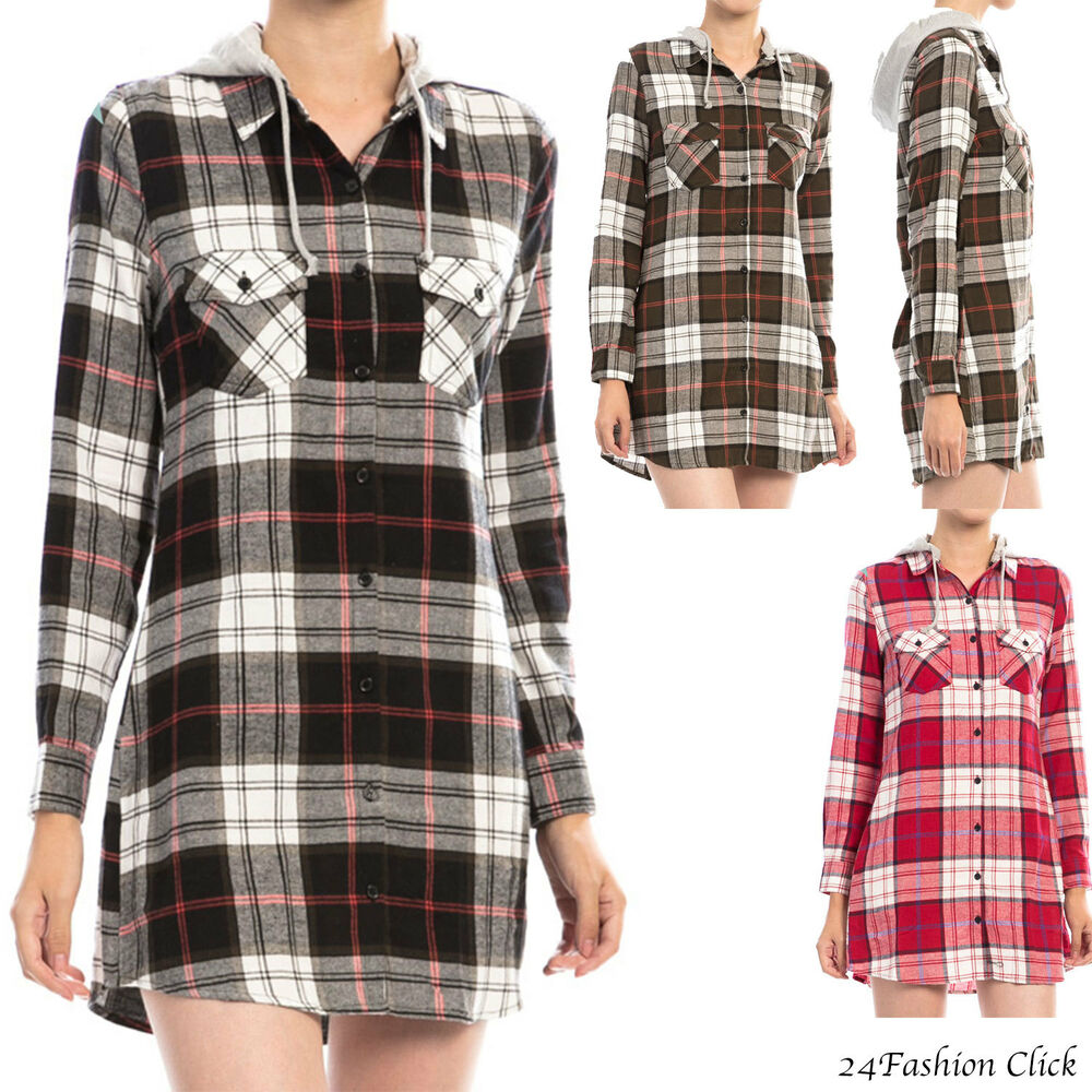 Womens long sleeve flannel plaid double pocket hoodie for Long plaid flannel shirt