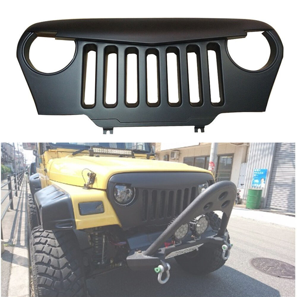 Jeep Wrangler Angry Grill >> Matte Black Angry Bird Overlay Grill Grille For Jeep Wrangler TJ 1997-2006 | eBay