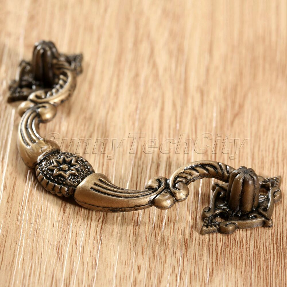 10 Retro Antique Bronze Dresser Handle Drawer Pull Cabinet