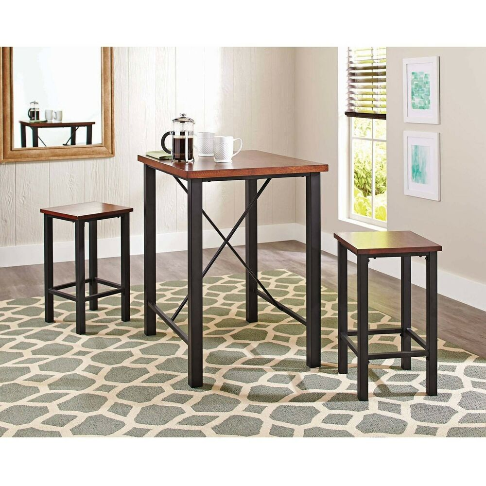 Dinette sets for small spaces pub table set 3 piece for Kitchen dining sets for small kitchens