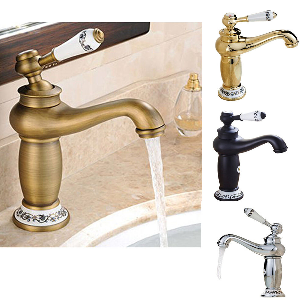 Vintage Rustic Kitchen Faucet Taps Bathroom Antique Finish Brass Single Sink Tap