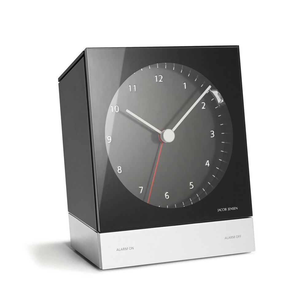 jacob jensen 341 black case dial alarm clock ebay. Black Bedroom Furniture Sets. Home Design Ideas