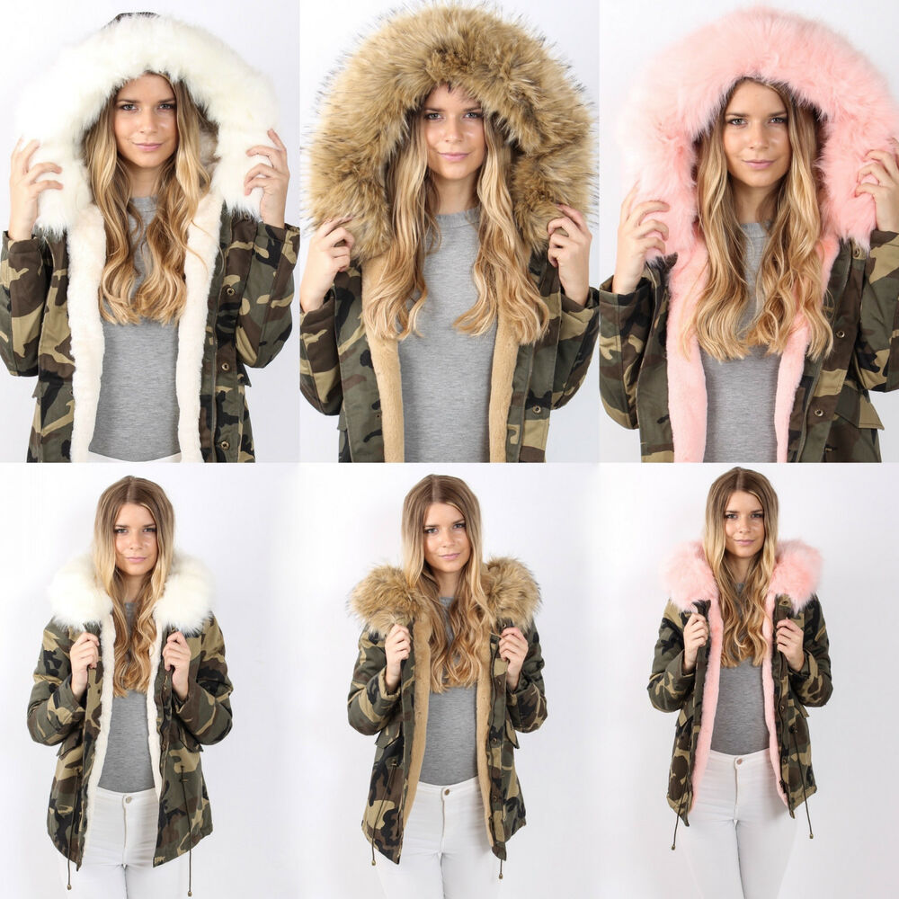 parka jacke camouflage army blogger xxl kapuze winter fell damen fl943 kunstfell ebay. Black Bedroom Furniture Sets. Home Design Ideas