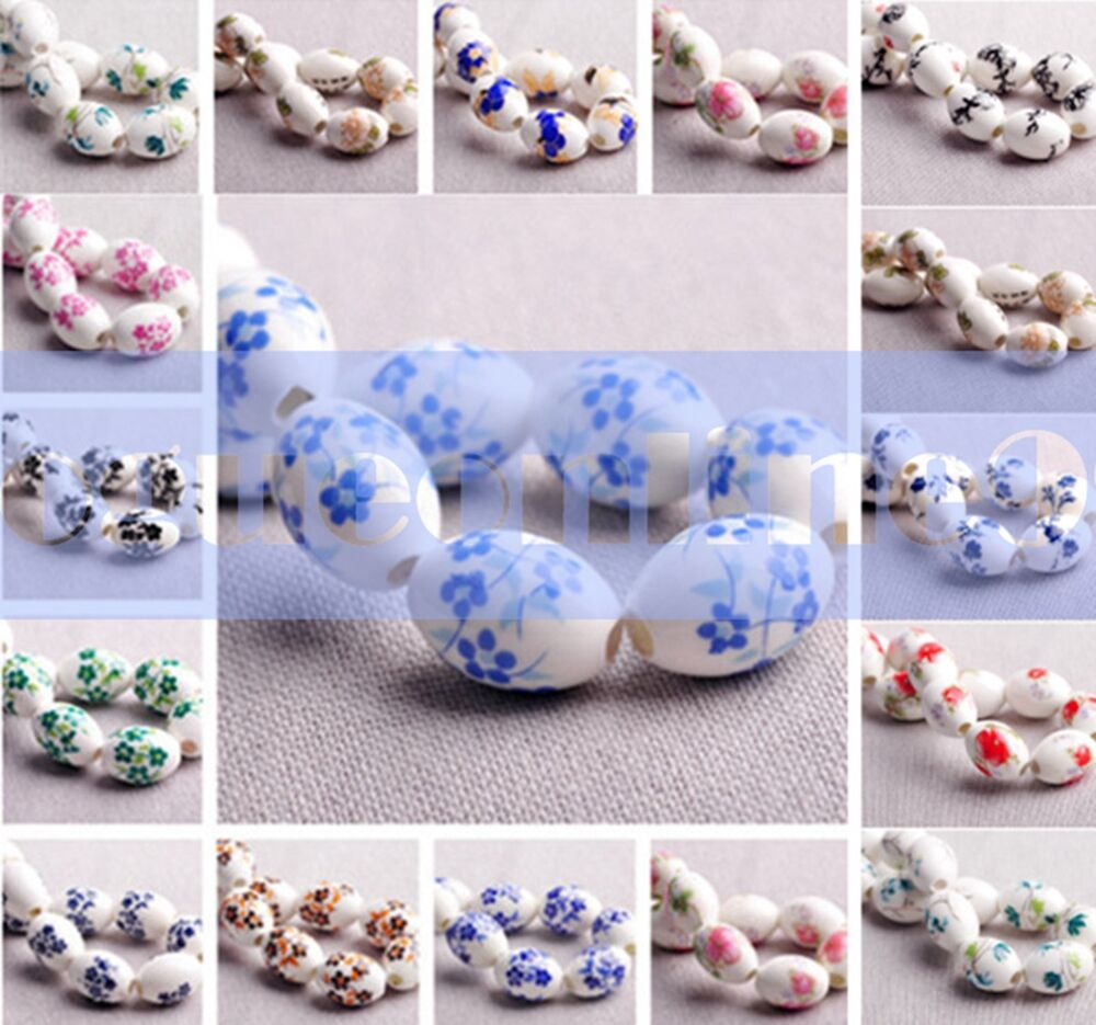 Ceramic Bead Beads: 15mm Oval Blue And White Ceramic&Porcelain Spacer Loose