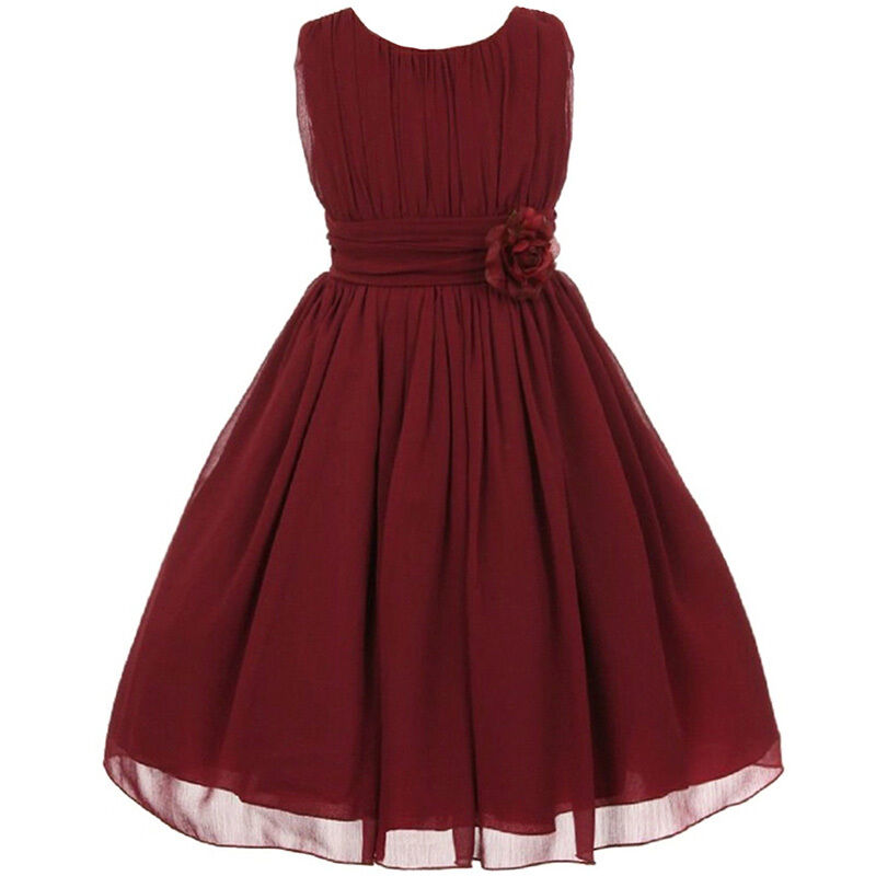 Burgundy Flower Girl Dresses Wedding Bridesmaid Pageant Birthday