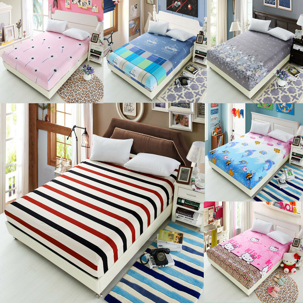 1pc flora color fitted sheet twin full queen king cotton bed sheet cover 3 size ebay. Black Bedroom Furniture Sets. Home Design Ideas