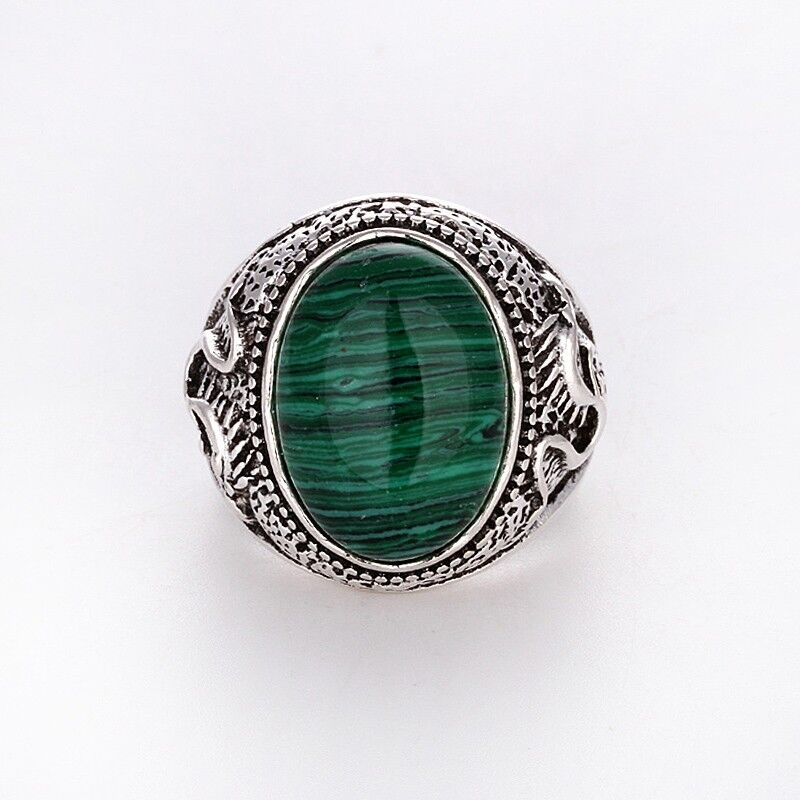cheap wholesale charms silver malachite ring